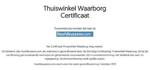 Thuiswinkel waarborg certificaat Hoofdkussens.com