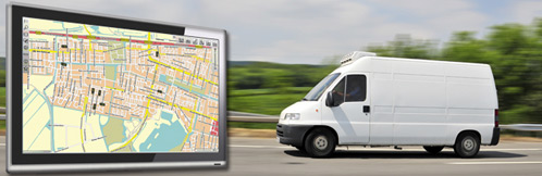 Bestelbus met GPS