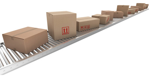 Pakketten op lopende band